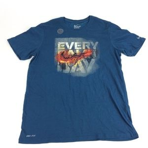 New Nike Mens Blue Dri Fit Fire Logo Shirt